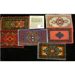 Group of (6) Old Tobacco Flannels with Indian Designs. Doc's note said they make good Doll House rug