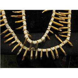 """64"""" Beeded Necklace with Canine Teeth. Doc has it labeled """"Indian   purchased from Illinois Bank. It"""