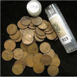 Solid date roll of 1930 D Wheat Cents, circulated.