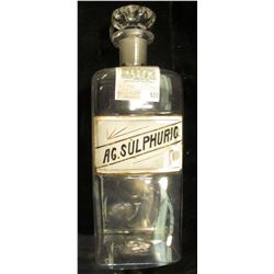 """Large 12 1/2"""" x 4 1/4"""" Clear Glass Apothecary Jar with label """"AG. Sulphuric"""" and glass stopper. Chip"""