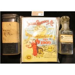 """5 1/2"""" x 1 3/4"""" Clear Glass Apothecary Jar labeled """"Muriatic Acid"""" with Skull & Crossbones; antique"""