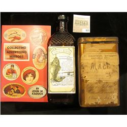 """9"""" x 2"""" x 2 3/4"""" Amber Bottle with Fish scale texture and Cod Fish Impression, Label """"Emulsion"""" amon"""