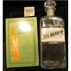 """Large 10"""" x 3 1/4 Apothcary Jar with glass Stopper, no contents.  Labeled """"MESS. MENTH. PIP""""; & a pa"""