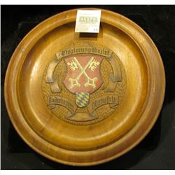"""12"""" diameter """"Regiernngbezirf Neiderbayern Obcryfal"""" engraved Wooden Plate with Coat-of-Arms exhibit"""