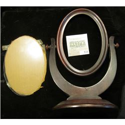 """Antique 4"""" x 6"""" Revolving Walnut Picture Frame with glass, (no picture)."""