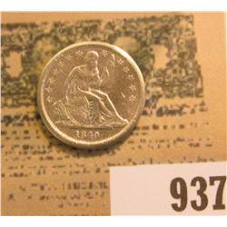 1840 No Drapery U.S. Liberty Seated Dime, AU details, cleaned.
