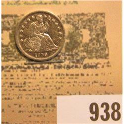 1838 U.S. Seated Liberty Half Dime, No Drapery, Large Stars, AU details, cleaned.