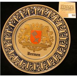 """Vintage Staffel Stoneware Saucer with Coat-of-Arms """"Bremen"""" made in Germany. 7 1/4""""."""