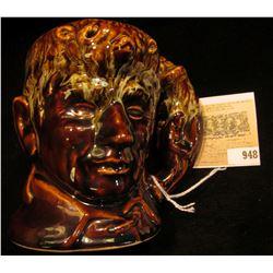 """Rockingham Harker 1840 U.S.A."" Stoneware Mug of Daniel Boone with Coon Skin hat."