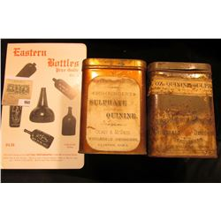 """Pair of """"Five Ounce Quinine Sulphate"""" Tins, one labeled from Clinton, Iowa & the other from Des Moin"""