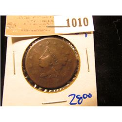 1010 _ 1836 Coronet Head Large Cent