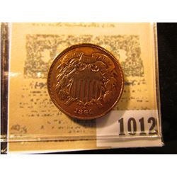 1012 _ 1864 Two Cent Piece, 180 degree die rotation. Lacquered and cleaned, but very nice grade.