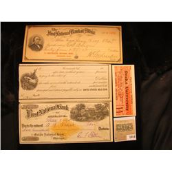 "1014 _ Pair of 1927-28 ""Drake University…reserved seat…"" tickets; early 1900 Promissory note (unissu"