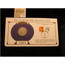 1015 _ 1884 P Philadelphia Mint Morgan Silver Dollar in a special protected cover with post marked c