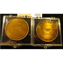 1035 _ Pair of 1882-1982 Hedrick, Iowa Centennial Tokens, brass, toned reverses. In plastic cases.