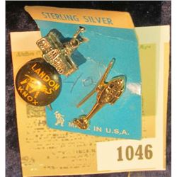 "1046 _ Sterling Silver Capitol Building Charm; ""Landon G.O.P. Knox"" Campaign Pin; & ""Air-care"" Helic"
