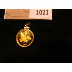 1071 _ Small Felt Bag with a 1985 Iowa Hawkeyes 1/10 oz. Proof Gold Piece depicting Herky the Hawk i