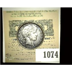 1074 _ 1892 P Barber Quarter, Original toned AU.