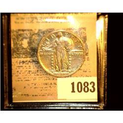 1083 _ 1919 P Standing Liberty Quarter, EF.