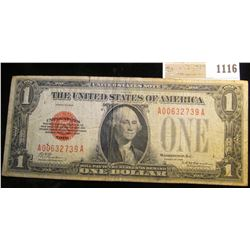 "1116 _ Series 1928 $1 United States Note, Fine. ""Red Seal"""