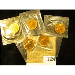 1124 _ 1960, 61, 62, 63, & 64 P Proof Lincoln Cents, all in Mint cellophane.