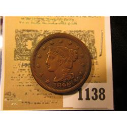 1138 _ 1846 U.S. Large Cent, Small Date variety, a nice high grade piece.