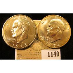 1140 _ 1972 S & 74 S Gem BU Eisenhower Silver Dollars.
