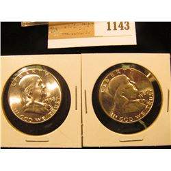 1143 _ 1958 P & 60 P Franklin Half Dollars, Gem BU.