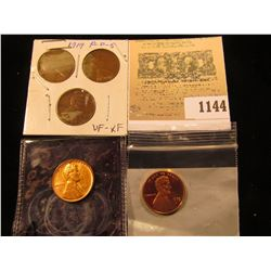 1144 _ 1919 P, D, S VF-EF; 1937 P BU, & 1979 S Proof Rare Type Two Variety Lincoln Cents.