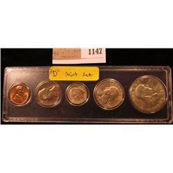 1147 _ 1962 Denver Mint U.S. Year Set in a Snap-tight case. Five pieces Cent to Half Dollar.