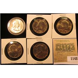 1148 _ 1949 S Franklin Half Dollar, Key-date, Brilliant Uncirculated; & 1971P, 72P, 73P, & 74P Kenne