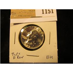 1151 _ 1958 P Washington Quarter, Type B reverse, Gem BU.