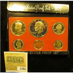 1194 _ 1977 S U.S. Proof Set, Original as issued. A nice attractive set with all coins exhibiting Ca