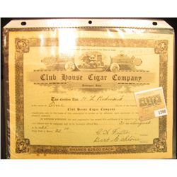 "1200 _ No. Four One Share ""Cl;ub House Cigar Company"", Davenport, Iowa, central vignette of mansion."