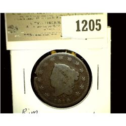 1205 _ 1819 U.S. Large Cent, G, Rim nick, and scratches.