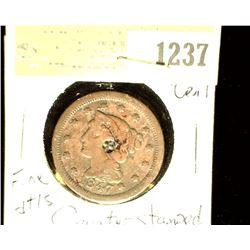 1237 _ 1847 U.S. Large Cent, Fine details, Counterstamped.
