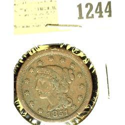 1244 _ 1851 U.S. Large Cent, Fine.