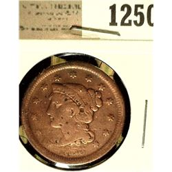 1250 _ 1856 U.S. Large Cent, Slant 5 variety, Fine, cleaned.