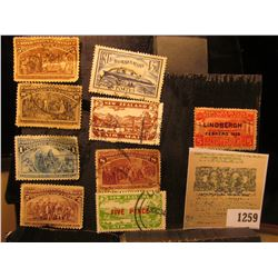 1259 _ (5) Different 1492-1892 Columbian Exposition Stamps, cancelled; Republic de Cuba Five Centavo