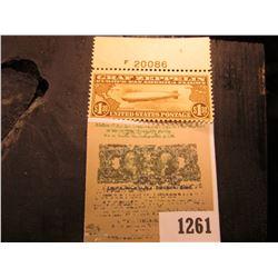 1261 _ USA 1930 era $1.30 Graf Zeppelin stamp with pane number, Brown; (SCOTT # C-14), light hinge o