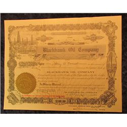 "1268 _ ""Blackhawk Oil Company"" Stock Certificate for Six Shares of Stock, No. 59, Sep 11, 1922."