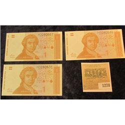 1270 _ (3) Republic of Hrvatska 1 Jedan Hrvatska Dinar Banknotes. CU.