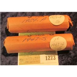 1273 _ 1929 P & 47 S Solid Date Rolls of Lincoln Cents. Circulated. (2 rolls).