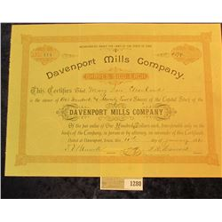 "1280 _ No. 114 ""Davenport Mills Company"" dated 10th of January 1890, excellent condition and ready f"
