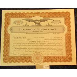 "1282 _ No. 586 ""Linograph Corporation Davenport, Iowa"" 10 Shares, dated Twenty-seventh day of 1939,"