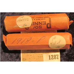 1287 _ 1918 P & 41 S Solid Date Rolls of Lincoln Cents. Circulated. (2 rolls).