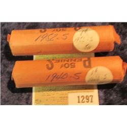 1297 _ 1940 S & 52 S Solid Date Rolls of Lincoln Cents. Circulated. (2 rolls).