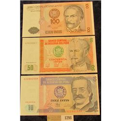 1298 _ 10, 50, & 100 Intis Bank notes from the Central Bank of Peru. all Crisp Uncirculated.