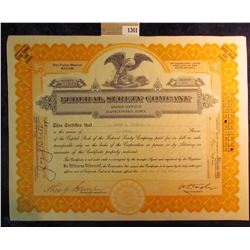 "1301 _ 1929 dated stock certificate for 50 Shares of ""Federal Surety Company"" Capital Stock, Eagle c"