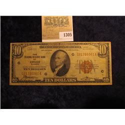 "1305 _ Series 1929 $10 National Currency ""The Federal Reserve Bank of Chicago Illinois"", serial numb"
